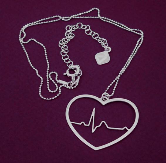 EKG heart in silver