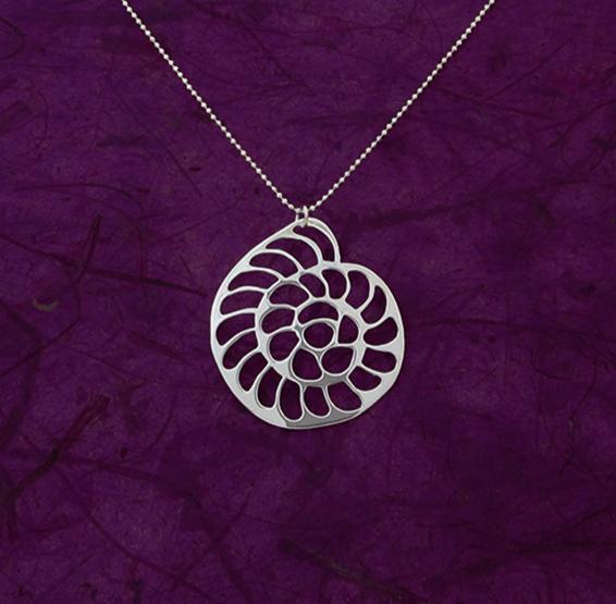 operculina foramenifera silver necklace by Delftia science jewelry