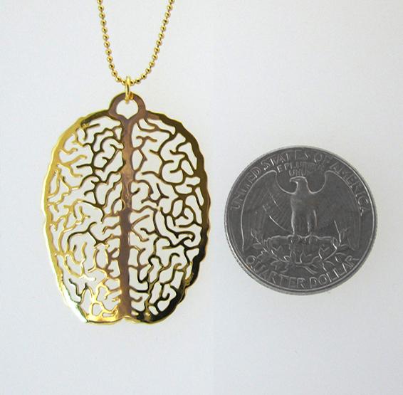 big brain gold necklace by Delftia