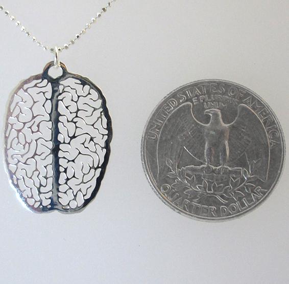 small brain in silver