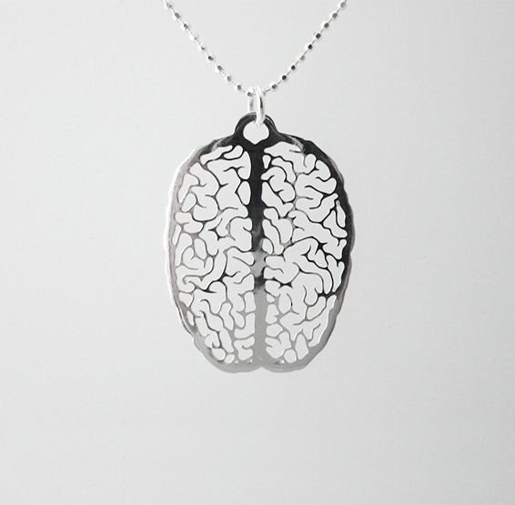 small brain in silver
