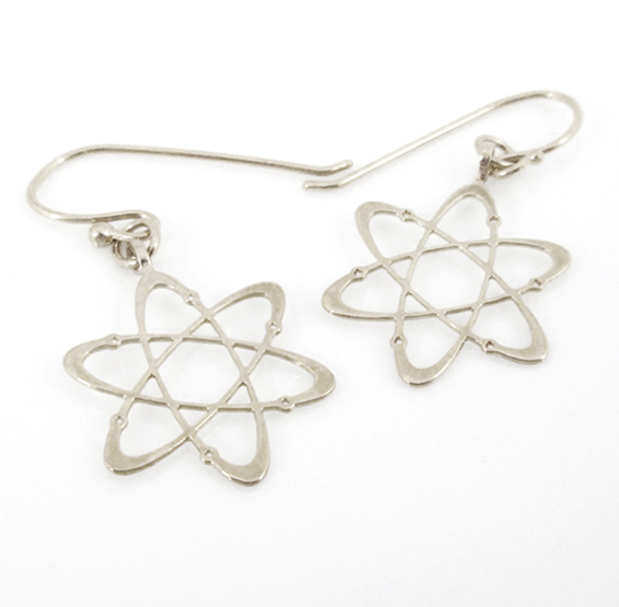 Carbon atom dangle silver earrings by Delftia science jewelry