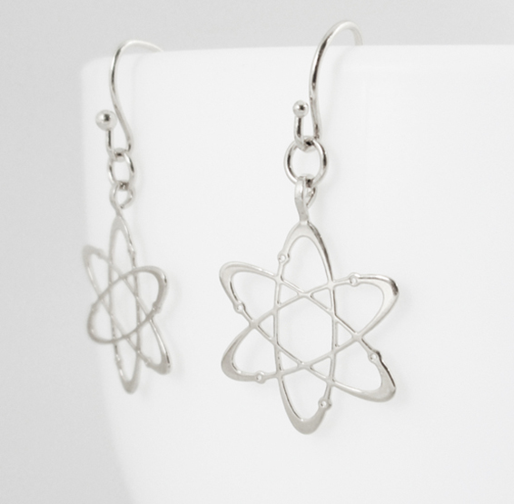 Carbon atom silver earrings by Delftia science jewelry