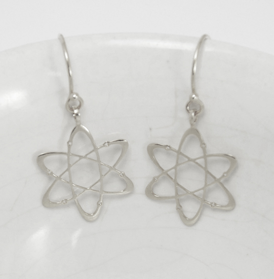 Carbon atom silver earrings by Delftia jewelry