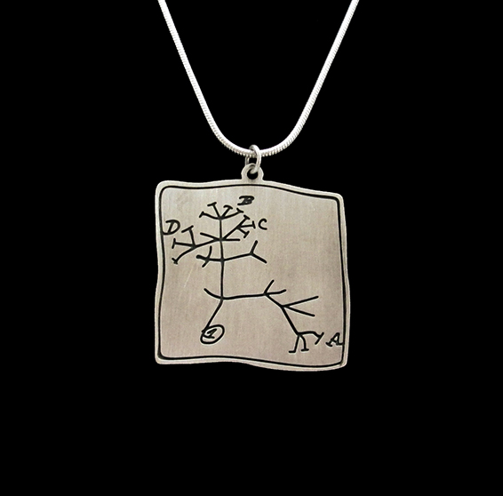 Darwin evolution tree, phylogeny silver necklace by delftia science jewelry