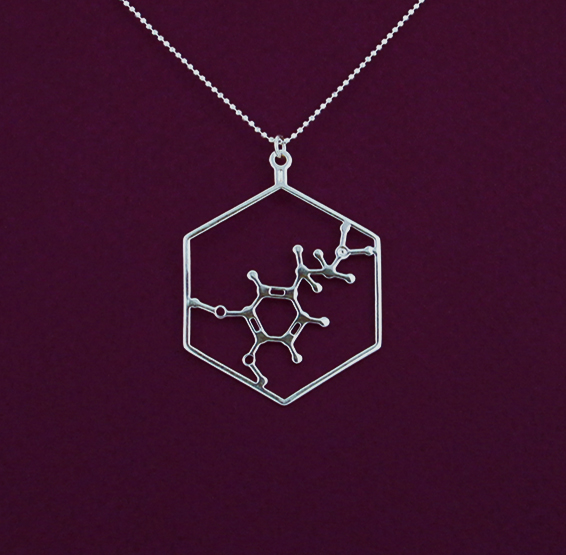 Dopamine molecule in silver, from delftia jewlery