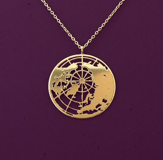 Earth globe gold necklace by Delftia Science Jewelry