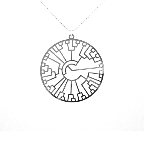 phylogenetic tree evolution silver necklace by Delftia science jewelry