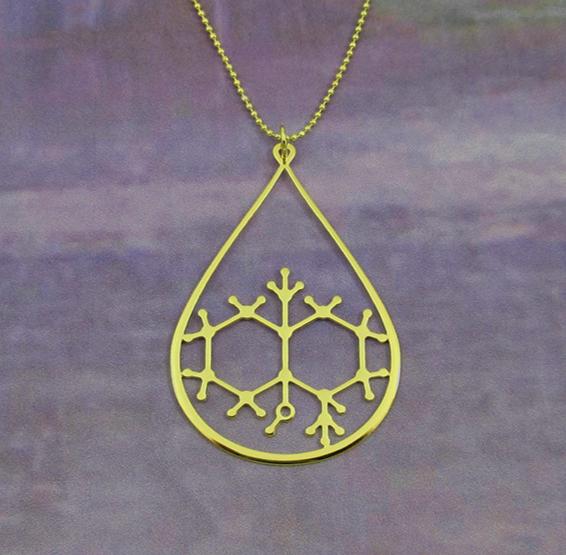 Geosmin molecule in gold, from delftia jewlery