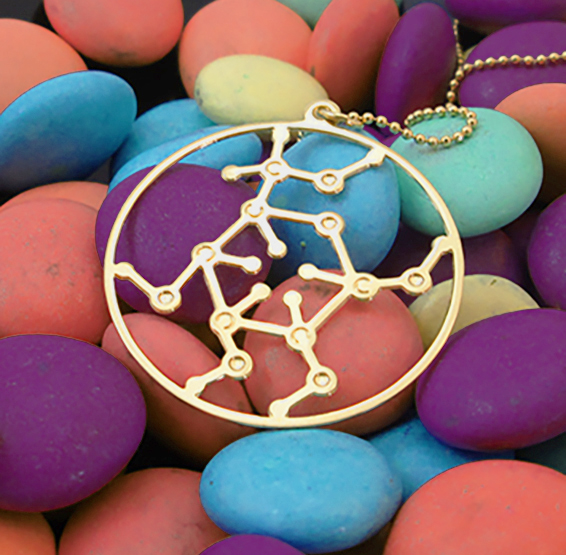 Glucose molecule gold necklace, by Delftia science jewelry