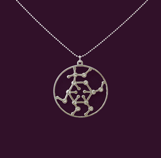 Glucose molecule silver necklace by Delftia science jewelry