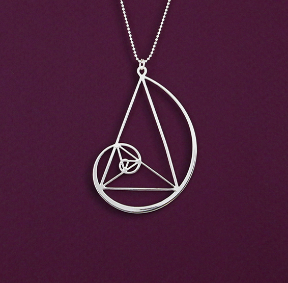 Golden triangle in Fibonacci spiral silver necklace by delftia science jewelry