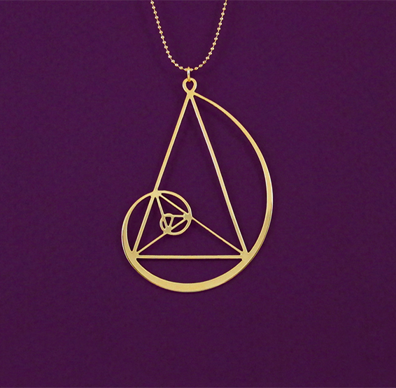 Golden triangle with Fibonacci spiral in gold by Delftia Science jewelry