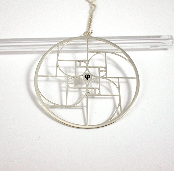 Golden ratio spirals, phi silver necklace by Delftia science jewelry