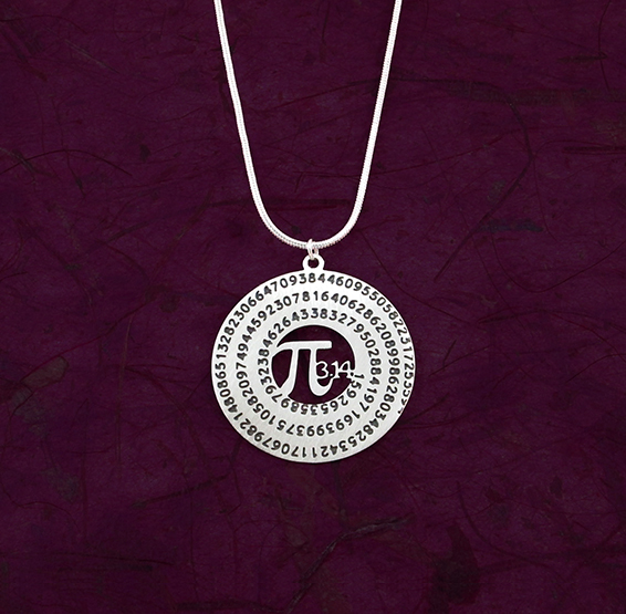 Pi silver necklace