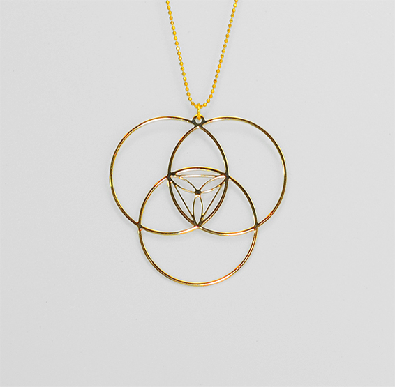 Reuleaux triangle geometric gold necklace by Delftia science jewelry
