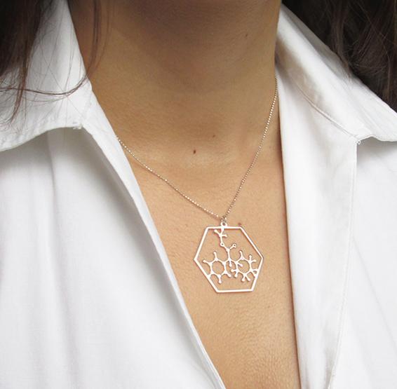 Ritalin silver necklace Methylphenidate molecule by Delftia science jewelry