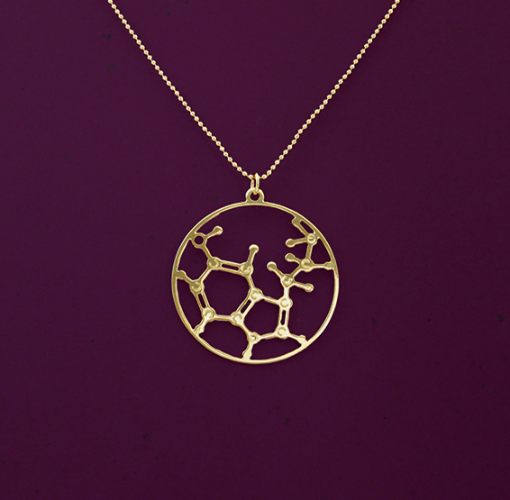 Serotonin molecule gold necklace by Delftia