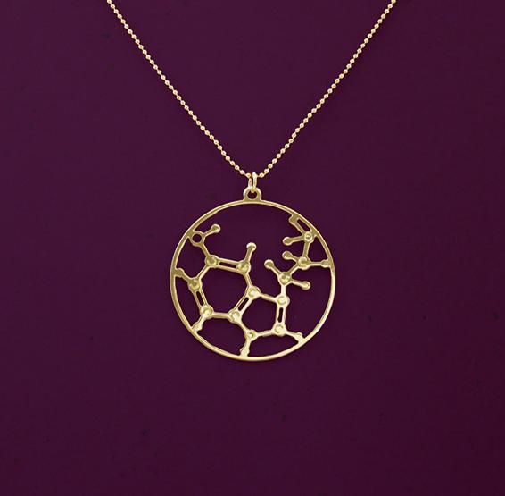 Serotonin molecule gold necklace by Delftia