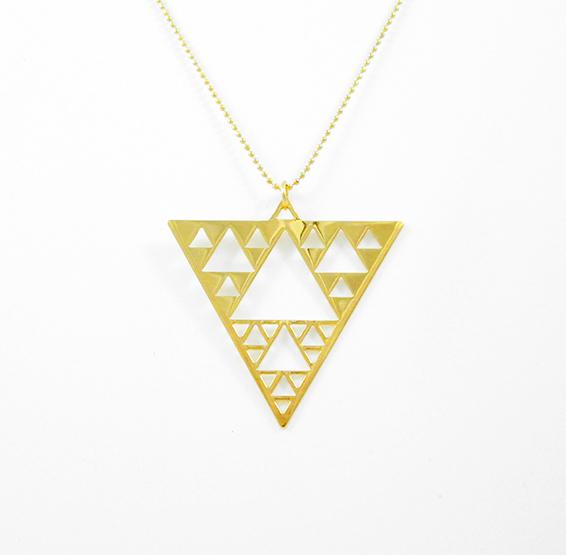 Sierpinski triangle geometry gold necklace by Delftia science jewelry