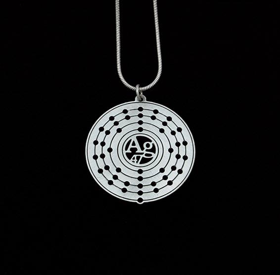 Silver atom Ag necklace