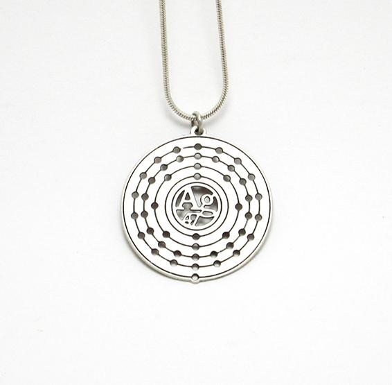 Silver atom Ag necklace white