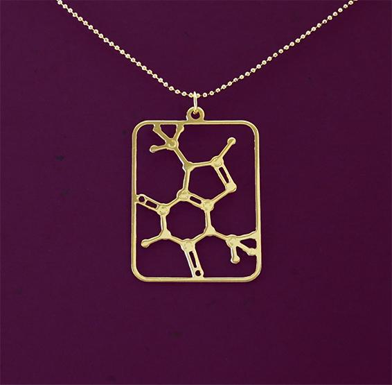 Theobromine molecule gold