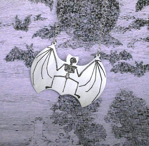 Bat skeleton anatomy by delftia jewelry