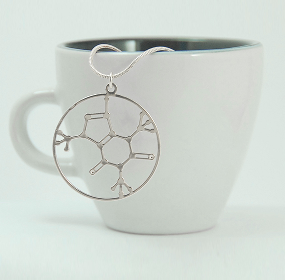 Caffeine molecule silver necklace by Delftia science jewelry