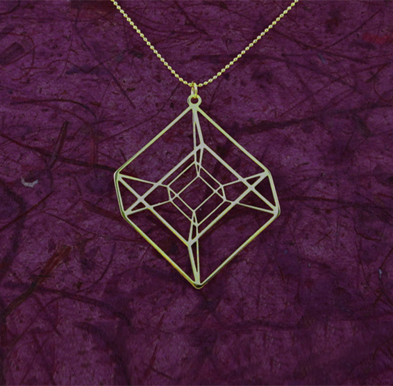 Tesseract hypercube in gold