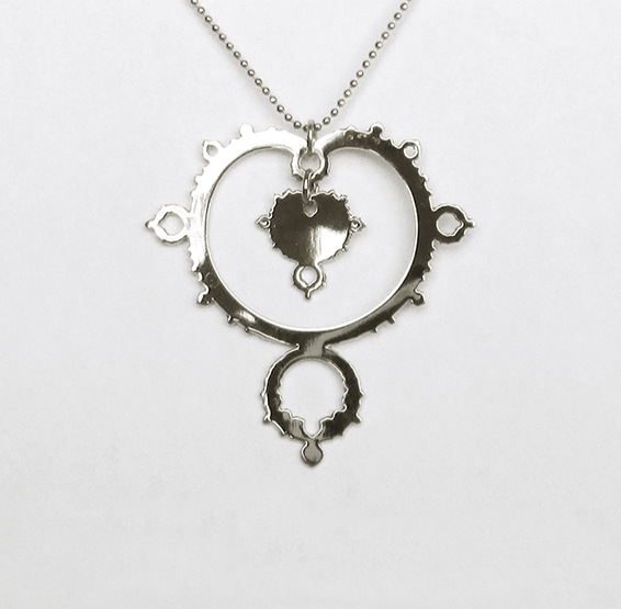 Mandelbrot set fractal silver necklace by Delftia science jewelry
