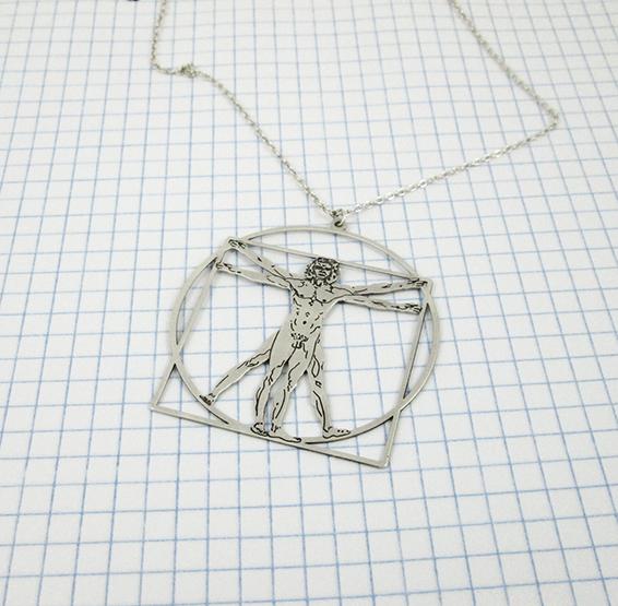vitruvian man Da Vinci silver necklace by Delftia science jewelry
