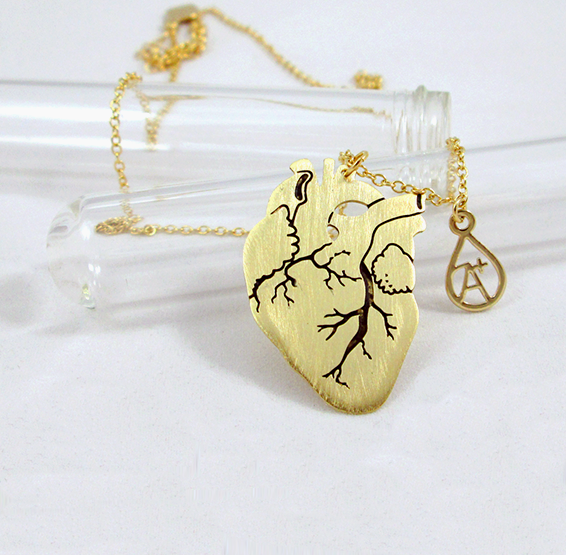 Anatomical gold heart necklace with blood type charm by Delftia science jewelry