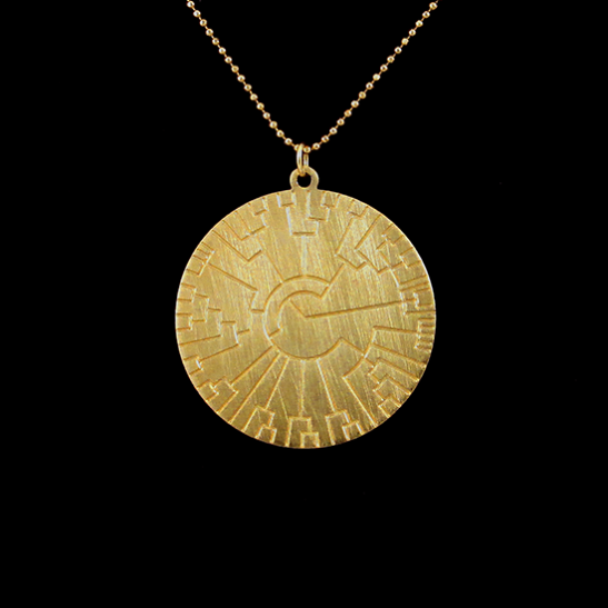 Phylogenetic tree gold disc by Delftia Science Jewelry