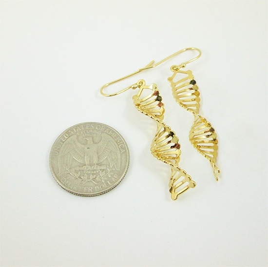 DNA gold earrings by Delftia