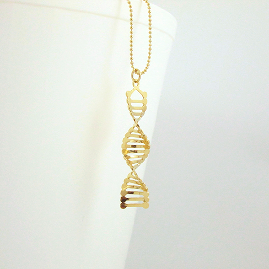 DNA gold necklace by Delftia Science Jewelry