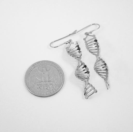 DNA silver earrings