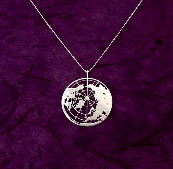 Earth globe silver necklace by Delftia Science Jewelry