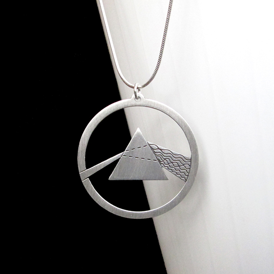 Dark side of the moon silver physics necklace by Delftia science jewelry