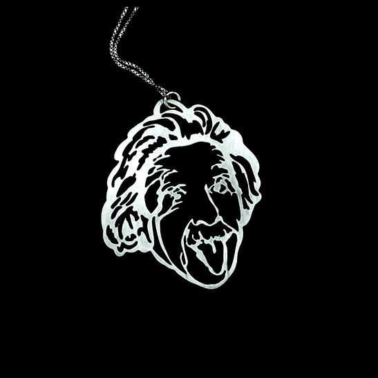 Einstein Tongue silver necklace by Delftia Science jewelry