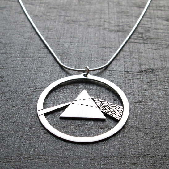Prism dark side silver necklace by Delftia science jewelry
