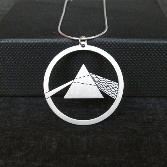 Prism dark side silver physics necklace by Delftia science jewelry