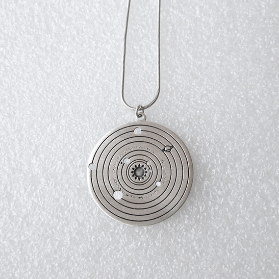 Solar system Astronomy silver necklace by Delftia Science Jewelry
