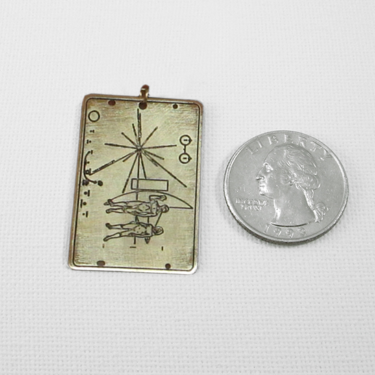 pioneer gold plaque by Delftia Science Jewelry