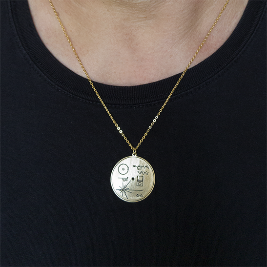 voyager record gold necklace on man by Delftia sience Jewelry