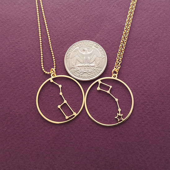 Big Dipper and Little Dipper set in gold by Delftia Science Jewelry