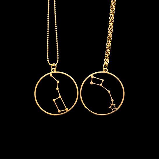 Big Dipper and Little Dipper set gold necklaces by Delftia Science Jewelry