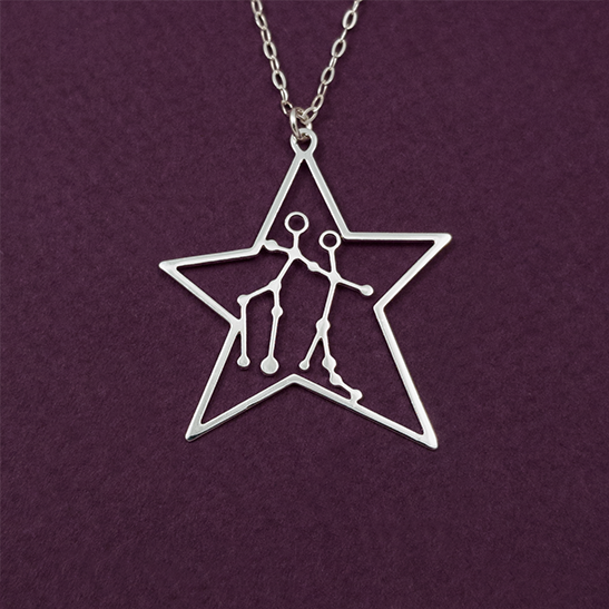 Gemini constellation in silver by Delftia Science Jewelry
