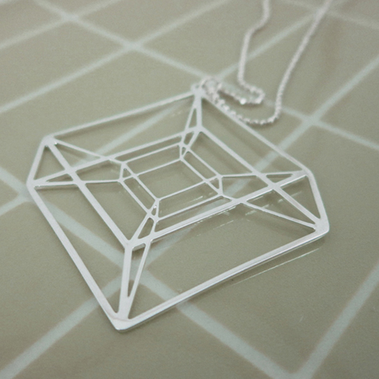 Hypercube necklace in silver by Delftia Science Jewelry