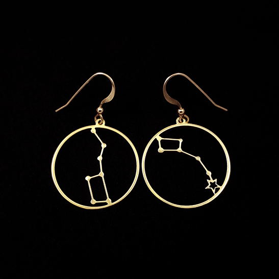 Little dipper and Big dipper constellation earrings by Delftia Science Jewelry